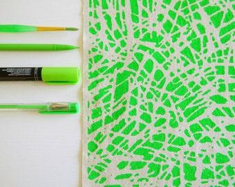 Tropic - screen printed fabric hand screen printed fabric for patchwork, sewing, embroidery & crafting in neon + metallic colours/colors