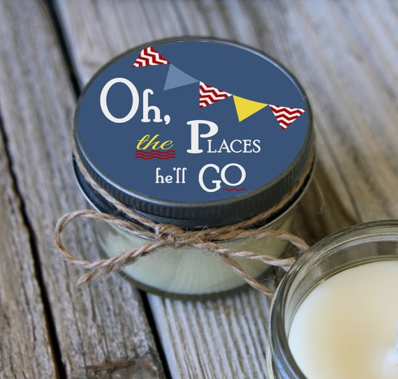 Set of 12 - 4 oz Baby Shower Candle Favor - Soy - Personalized Baby Shower  Favors // Oh the Places He'll Go // Boy Baby Shower Favors