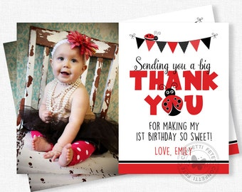 Ladybug Thank You, Photo Thank You Cards, Ladybug Party Thank You Notes, Girl Birthday Thank You, Red Ladybug Personalized