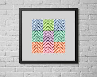 Colored chevron (cross stitch pattern)