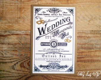 100 Vintage Halloween Wedding Invitations with Masquerade Masks - By My Lady Dye