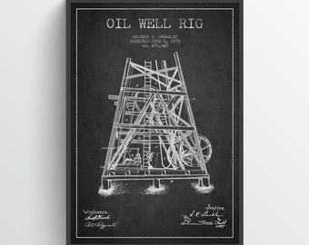 1893 Oil Well Rig Patent Wall Art Poster, Pump Jack  Poster, Oil Drilling Poster, Home Decor, Gift Idea, PFEN27P