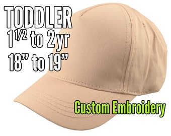 Toddler Size 1.5 to 2yr Custom Personalized Embroidery Decoration on a Peach Soft Structured Baseball Cap +Options to Personalize Side +Back