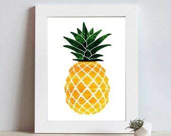 Pineapple Decor - Pineapple Print - Beachy Decor - Coastal Art - Tropical Print - Beach Decor - Printable Art - Tropical Art - Fruit Prints