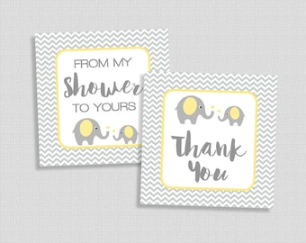 Baby Shower Favor Tags, Thank You and From My Shower To Yours Shower Party Favor Tags, Yellow Elephant Grey Chevron, INSTANT PRINTABLE