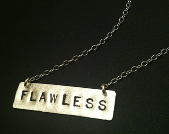 FLAWLESS Necklace, I Woke Up Like This, Bar Necklace, Rectangle Necklace, Bey, BFF Gift, Stamped Jewelry, Bow Down Bitches,  Silver Pendant