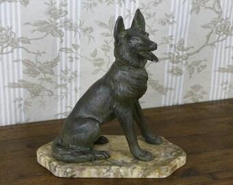 French Art Deco Statuette of a Dog - German Shepherd Dog Statue - Alsation Dog Statue - Bronzed Figure of Dog on Marble Base - Dog Sculpture