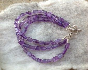 Amethyst Bracelet, February Birthstone, Sterling Silver, Karen Hill Tribe Silver, Gemstone Jewellery, Multi Strand Bracelet, Gift for Her