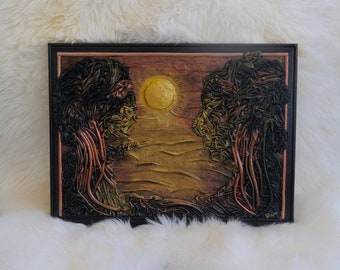 Unique Leather Picture Mangrove Sunset<leather Art, Leather Handmade