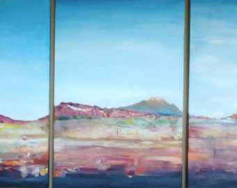 Arizona Mountain View, Triptych, Oil Painting, Abstracted, Modern Art, Home Decor, Arizona Landscape, Contemporary Art, SouthWest Art