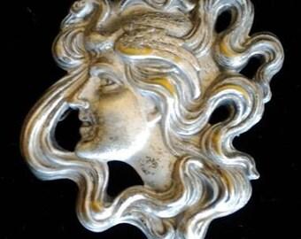 Rare Art Nouveau Lady Pin