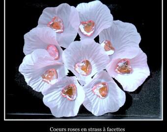 50 heart shaped rhinestone deco wedding rose 16 MM X 16 MM.