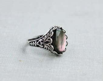 Black Pearl Ring. Antique Silver or Antique Brass
