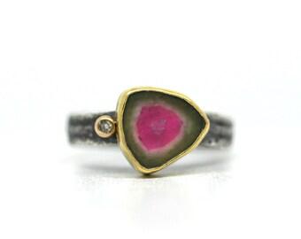 Watermellon Tourmaline Slice Ring with Diamond