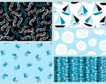 Tides Jane Dixon  Cotton  Fabric Collection  5 Yard Bundle Andover beach  Quilting Sewing Fabrics