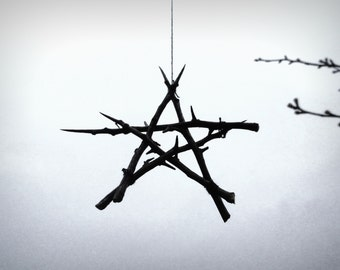 Hawthorn hedge witch rustic Pentagram altar decoration, for wicca, pagan ritual use