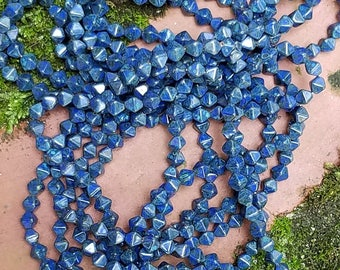Mottled Blue Navy Czech Glass Bicone Beads - 5mm (50 ct)