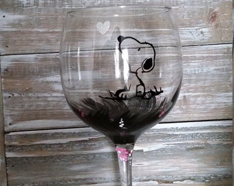 Snoopy Wine Glass/Peanuts/Charlie Brown