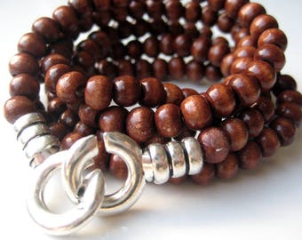 5 laps wood beads and silver metal N3220 handcuff bracelet