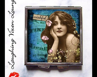"Compact Mirror - Pill Box - Sassy Vintage Ladies ""Wishful"" - Whimsical Retro Humor Funny Women - Vintage Retro Women - Pill Case - Pillbox"