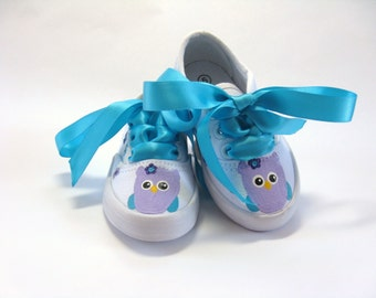 Owl and Cupcake Shoes, Birthday Party Outfit, Hand Painted Sneakers for Baby and Toddler