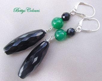 20% SALE Onix earrings, dangle earrings, green agate earrings, stone earrings, sterling silver earrings