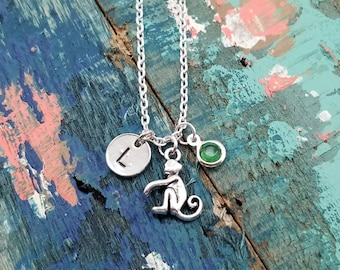 Monkey Necklace, Birthstone Jewelry, Science Teacher Gift, Animal Lover Necklace, Silver Monkey Pendant, Personalized Jewelry, Bff Gift