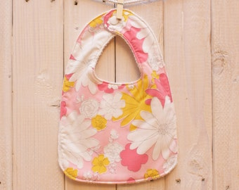 Vintage Sheet Bib - Pink & Yellow Floral