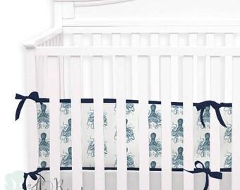 Octopus 2-in-1 Crib Bumper/Rail Cover | Convertible Baby Boy Bumper Set | Nautical Octopus Crib Bumper Set | Nautical Crib Bedding