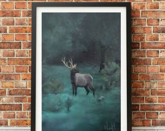 Stag in forest - Giclée print