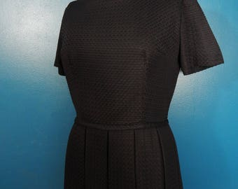Adorable 1950's Black Textured Dress | LBD | Classic