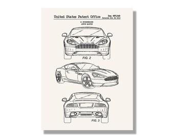 Car blueprint etsy aston martin automobiles et al patent poster blueprint style screen print hand made malvernweather Choice Image