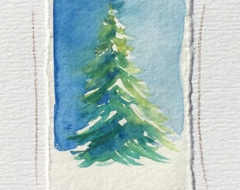 Christmas tree card, original painting, handmade card, original watercolor.