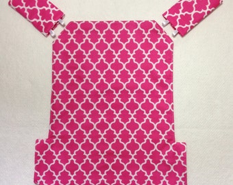 Jazz and Go baby carrier cover and strap pads for Ergo for baby wearing in hot  pink and white lattice cotton fabric