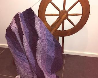 Crocheted Lapghan in purple tones, lap blanket