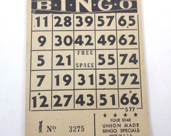 Vintage Black and Tan Bingo Card Sheets on Pad Set of 24