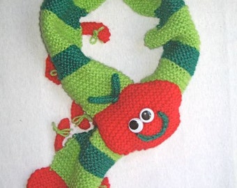 Caterpillar Scarf - KNITTING PATTERN -  pdf file by automatic download
