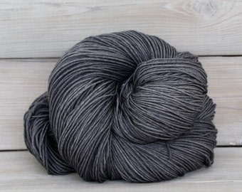 Altair - Hand Dyed Superwash Merino Wool Nylon Tencel Fingering Sock Yarn - Colorway: Charcoal