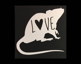 Pet Rat Ratty Ratsie Love Heart Vinyl Decal for Wall Car Tablet Phone Trailer & More