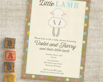 Little Lamb Blue and Brown Baby Shower Invitations Baby Boy Lamb Custom Invites with Professional Printing Option