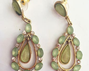 Errrings emerald beads color - shining small rainstone - gold plated