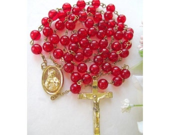 Rosary Beads * Red Prayer Beads * Vintage Rosary