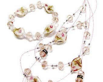 Lampwork Glass Beads Layered Necklace, Bracelet & Dangle Earrings Jewelry Set_3 Colors Available