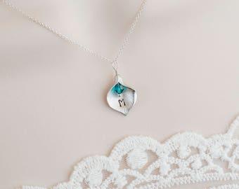 Personalized Calla Lily Necklace,Custom Initial Necklace, Birthstone Initial Necklace,Bridesmaid Gift, Personalized Mother, Grandmother Gift