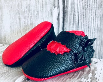 Black Red Sole Baby, Red Bottom Mary Jane Baby Pram Shoes - Like Mummy's Louboutins but Designer Inspired! Louboutin Baby!