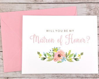 Will You Be My Matron of Honor Card, Matron of Honor Proposal Card, Floral Wedding Card, Matron of Honor Gift, Bridal Party Card - (FPS0013)