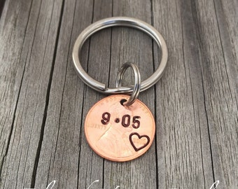 Custom hand stamped penny keychain, Graduation penny, Anniversary penny, I still do penny, Lucky us penny, Personalized penny, couples penny