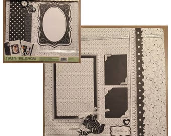 K&Company Wedding Pre-made Scrapbook Pages 12 x 12 Wedding Love Black White