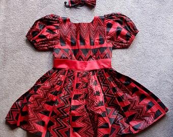 Red & Black African Print Girl's Dress