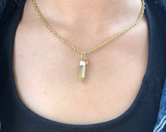 gold crystal necklace/ crystal necklace/ gold necklace/ yellow necklace/ yellow crystal necklace